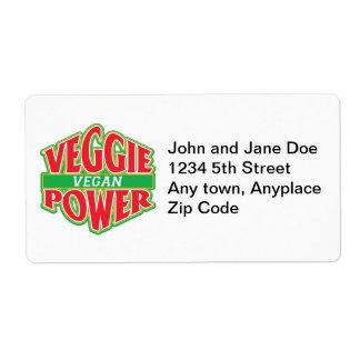 Vegano del poder del Veggie Etiquetas De Envío