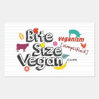 Vegano del tamaño de la mordedura con el pegatina