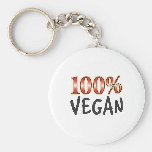 Vegano el 100 por ciento llavero redondo tipo pin
