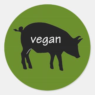 Vegano (en un diseño del cerdo) pegatina redonda