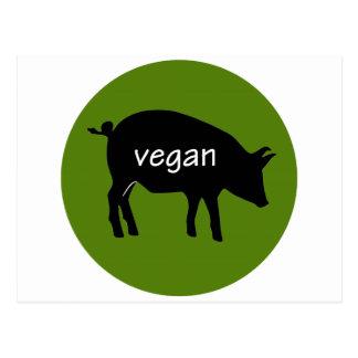 Vegano (en un diseño del cerdo) postal