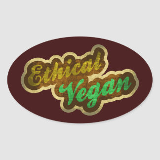 Vegano ético pegatina ovalada