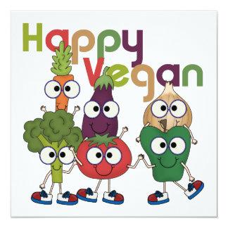 Vegano feliz invitación 13,3 cm x 13,3cm