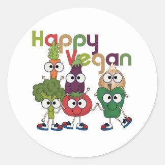 Vegano feliz pegatina redonda