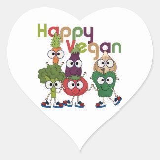 Vegano feliz calcomanía corazón personalizadas