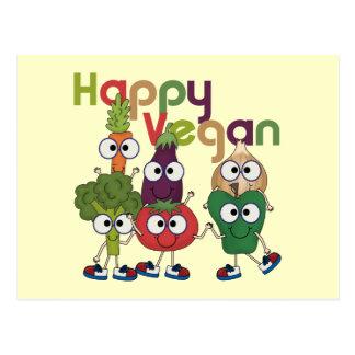 Vegano feliz tarjeta postal