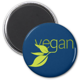 Vegano frondoso imán redondo 5 cm
