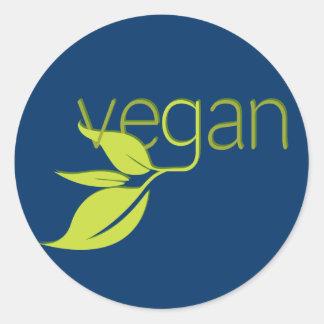Vegano frondoso pegatina redonda