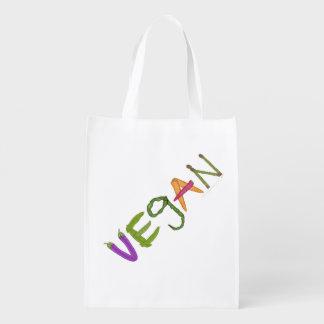 Vegano hecho por el bolso de ultramarinos bolsa reutilizable