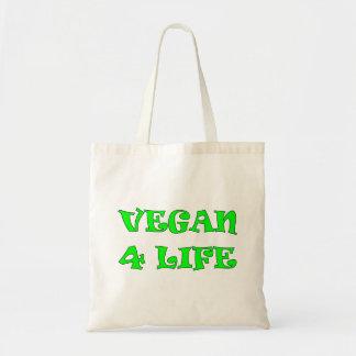 Vegano la bolsa de asas verde del texto de 4 vidas