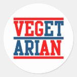 Vegano o vegetariano etiqueta redonda