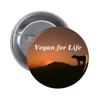 Vegano para la vida pin redondo de 2 pulgadas