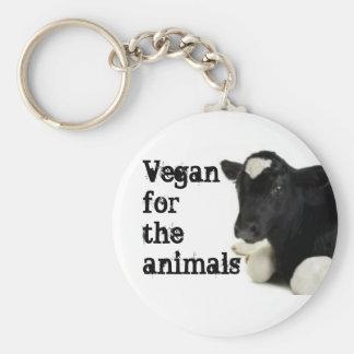 Vegano para los animales - becerro llavero redondo tipo pin