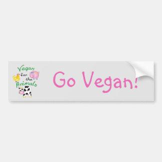 Vegano para los animales con el cerdo lindo, vaca, pegatina para auto