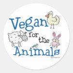 Vegano para los animales etiqueta redonda
