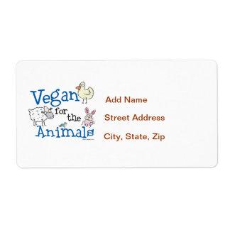 Vegano para los animales etiquetas de envío