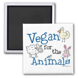 Vegano para los animales imán cuadrado
