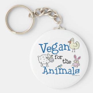 Vegano para los animales llavero redondo tipo pin