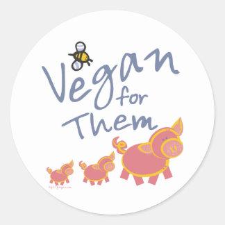 Vegano para los animales pegatina redonda