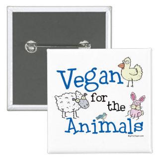 Vegano para los animales pin cuadrado