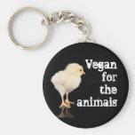Vegano para los animales - polluelo llavero redondo tipo pin