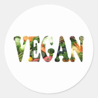 Vegano Etiqueta Redonda