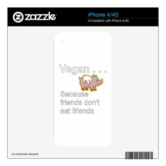 Vegano - porque los amigos no comen a amigos calcomanía para iPhone 4