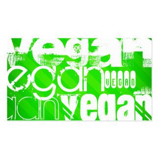 Vegano; Rayas verdes de neón Tarjetas De Visita