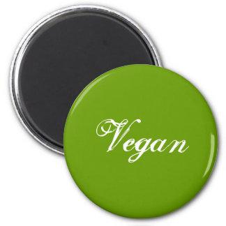 Vegano. Verde. Lema. Personalizado Imán Redondo 5 Cm