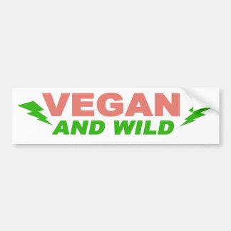 Vegano y salvaje pegatina para auto