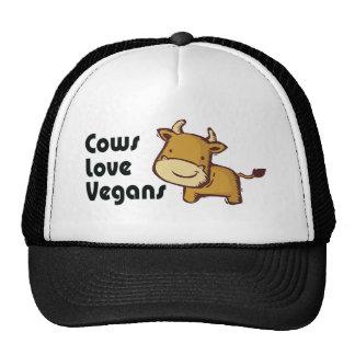 veganos del amor de las vacas gorros bordados