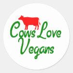 Veganos del amor de las vacas pegatinas redondas