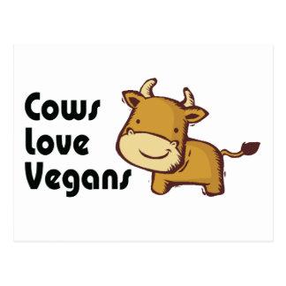 veganos del amor de las vacas tarjetas postales
