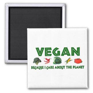 Veganos para el planeta imán cuadrado