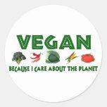 Veganos para el planeta pegatina redonda