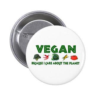 Veganos para el planeta pin redondo de 2 pulgadas