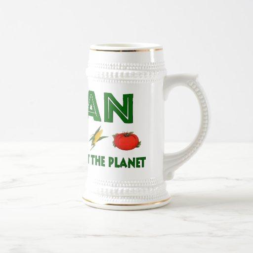 Veganos para el planeta taza de café