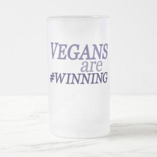 Vegans are #Winning 16 Oz Frosted Glass Beer Mug