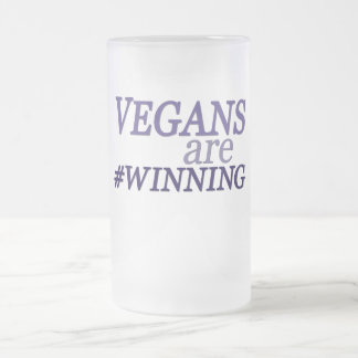 Vegans are #Winning Frosted Glass Beer Mug
