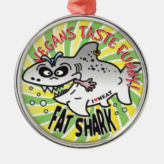 Vegans Fat Shark Silver-Colored Round Decoration