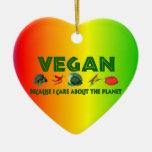 Vegans For The Planet Double-Sided Heart Ceramic Christmas Ornament