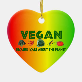 Vegans For The Planet Double-Sided Heart Ceramic Christmas Ornament