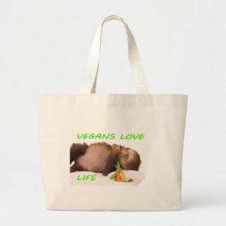 vegans love life , slothie large tote bag