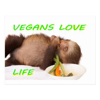 vegans love life , slothie postcard