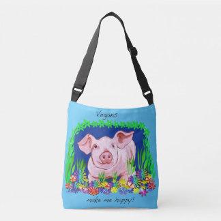 Vegans make me happy! Cute pig bag