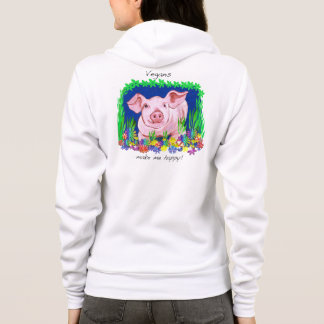 Vegans make me happy! Cute pig hoodie