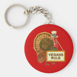 Vegans Rule Turkey Humor for Thanksgiving Keychain