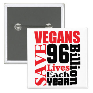Vegans Save Lives Vegan Button