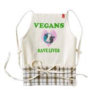 Vegans Save Lives Zazzle HEART Apron