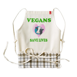 Vegans Save Lives Zazzle HEART Apron